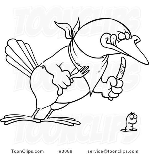 581x600 Cartoon Black And White Line Drawing Of A Big Bird Ready To Dine