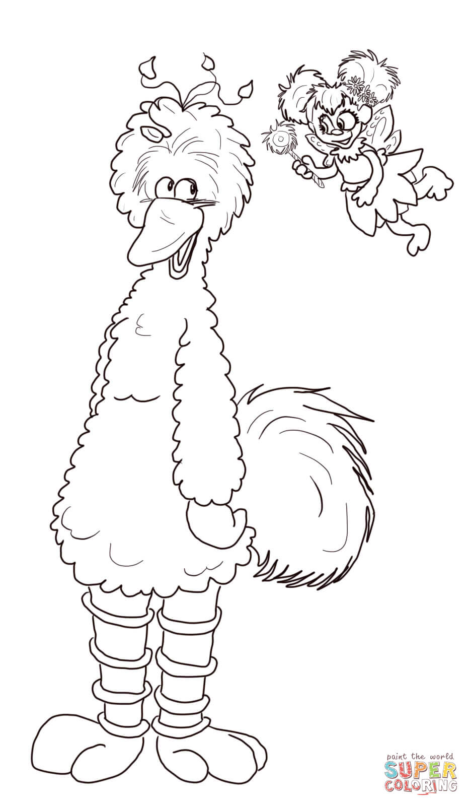 932x1600 Abby Cadabby And Big Bird Coloring Page Free Printable Coloring