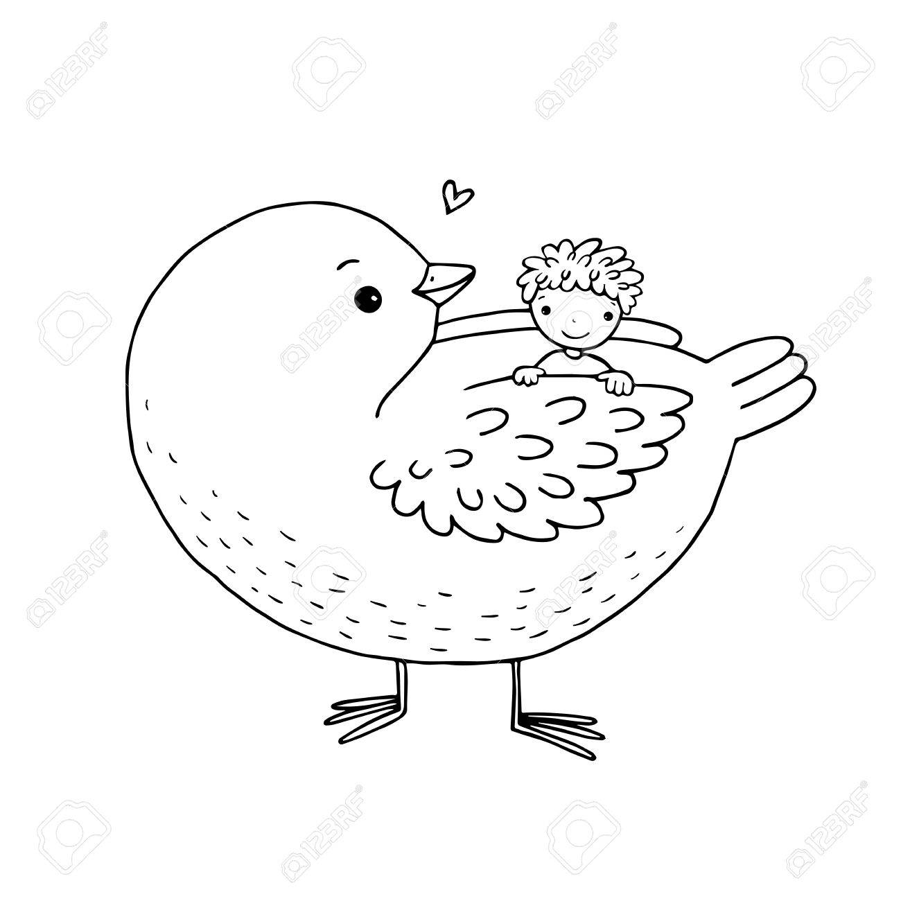1300x1300 Cute Cartoon Baby And Big Bird. Hand Drawing Isolated Objects