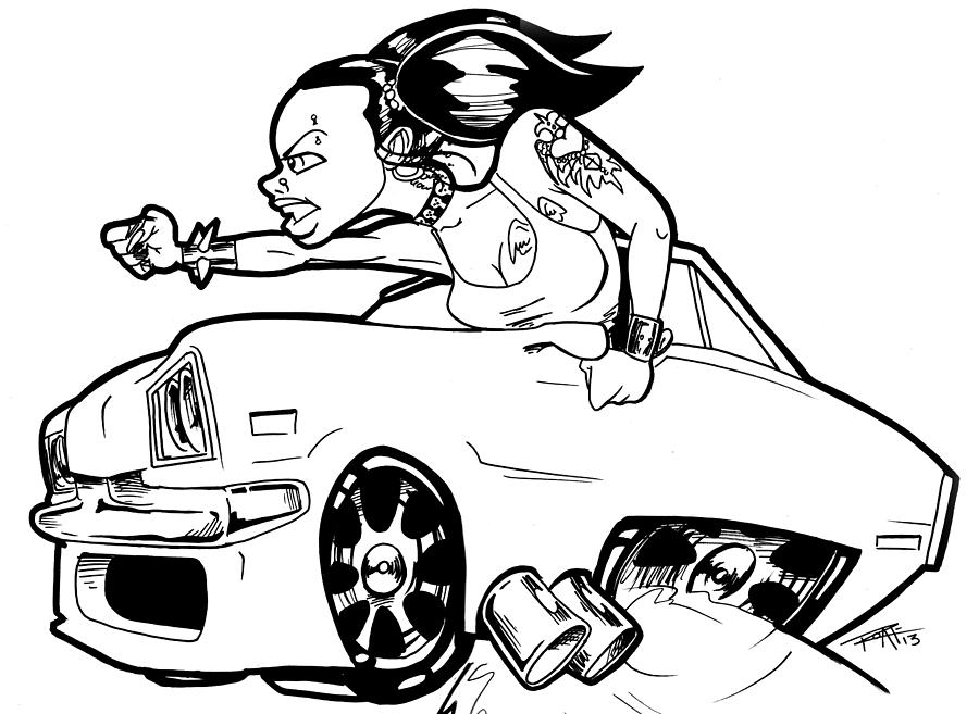 900x657 Car Wench Drawing By Big Mike Roate