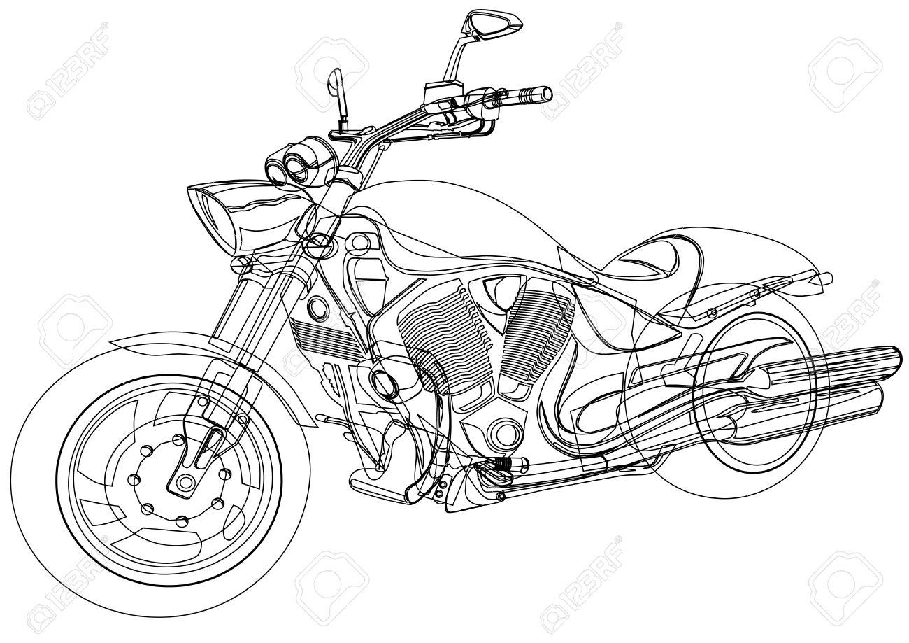 1300x919 Drawing A Big Motorcycle Royalty Free Cliparts, Vectors, And Stock