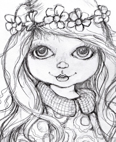407x500 Pop Art Minis W.i.p. A Burst Of Spring Flowers In Her Hair
