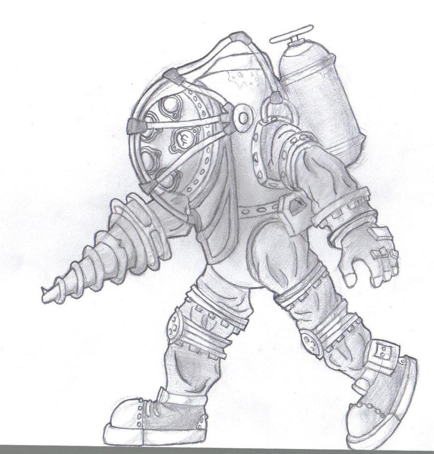 874x915 Bioshock Big Daddy Drawing By Mateoatya1