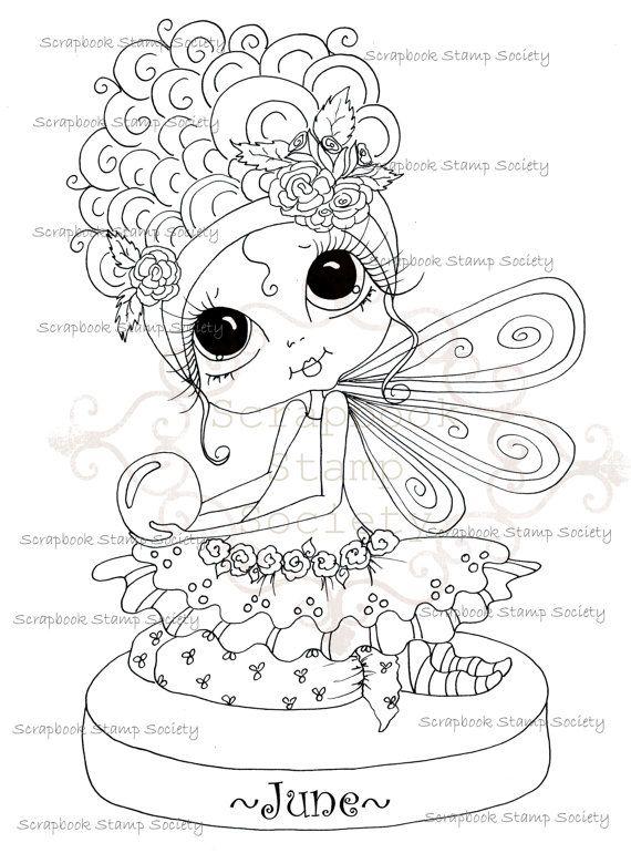 570x770 Instant Download Digital Digi Stamps Fairy Big Eye Big Head Dolls