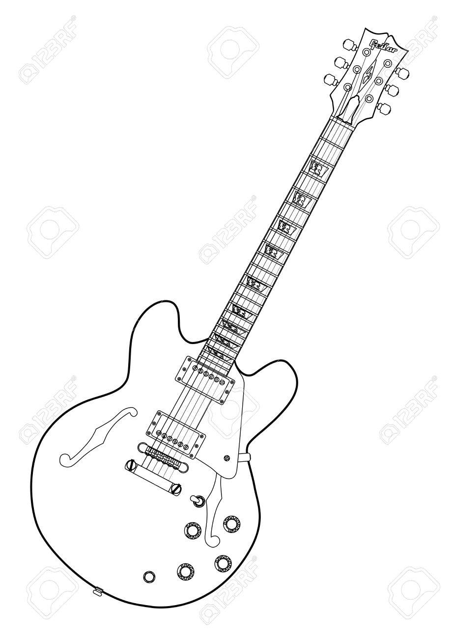 Big Guitar Outline Drawing