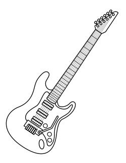 250x324 Rock And Roll Coloring Pages Electric Guitar Page Music