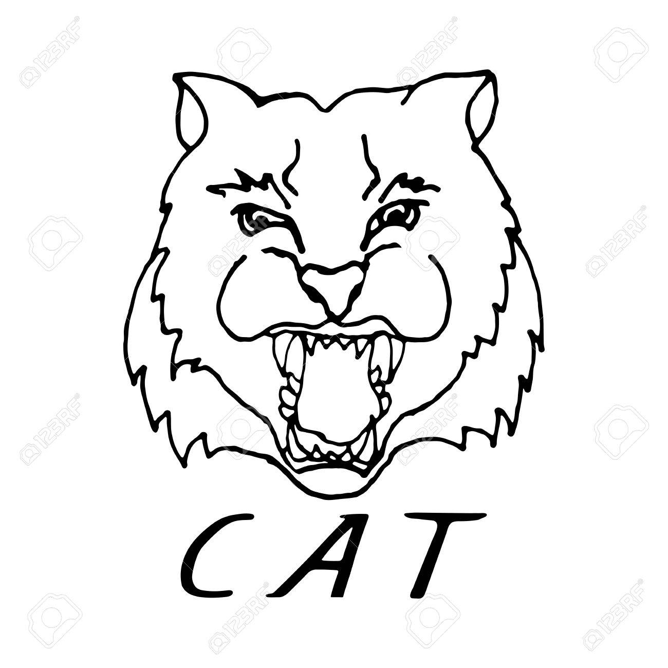1300x1300 Hand Draw Head Screaming Cat With Big Teeth In Black And White
