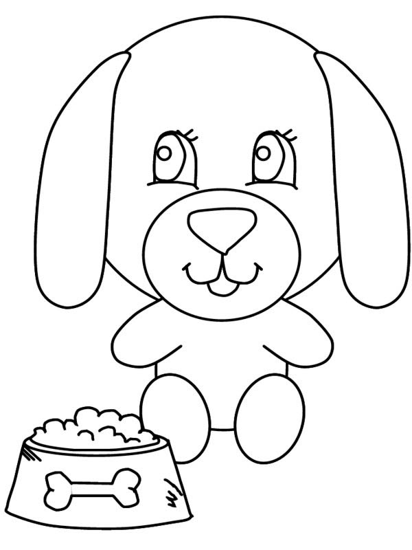600x800 A Big Head Dog And His Meal Coloring Page