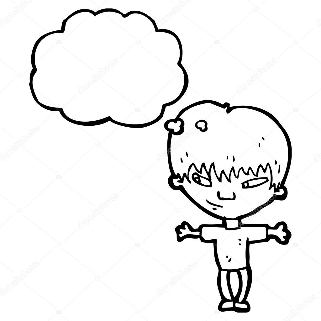 1024x1024 Big Head Boy With Thought Bubble Stock Vector Lineartestpilot