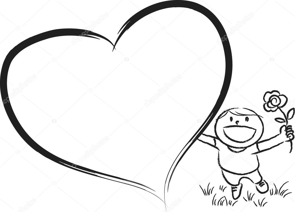 1024x737 Boy With Big Blank Heart Shape Stock Photo Wenpei