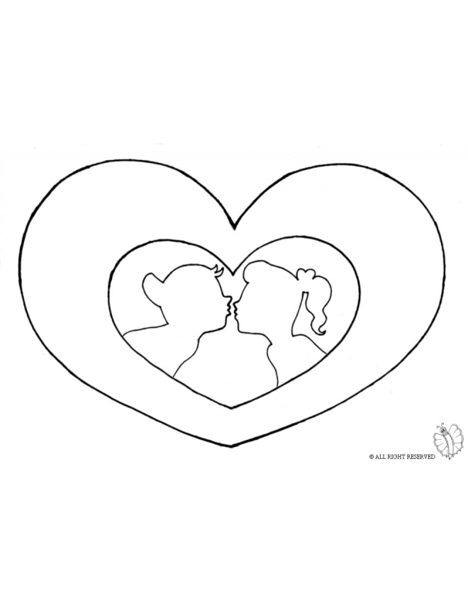 660x847 Coloring Page Of Big Heart And Kiss For Coloring For Kids