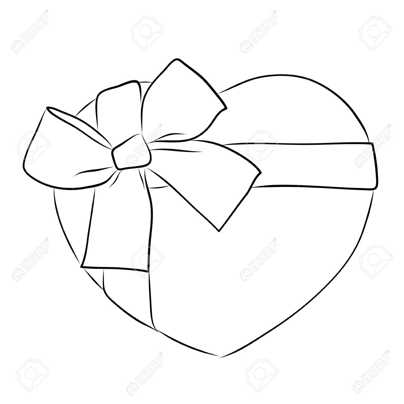 1300x1300 Drawing Heart With Big Ribbon Bow Stock Photo, Picture And Royalty