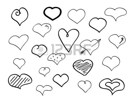 450x344 Hand Drawn Doodle Hearts Big Pen Scribble Set Royalty Free
