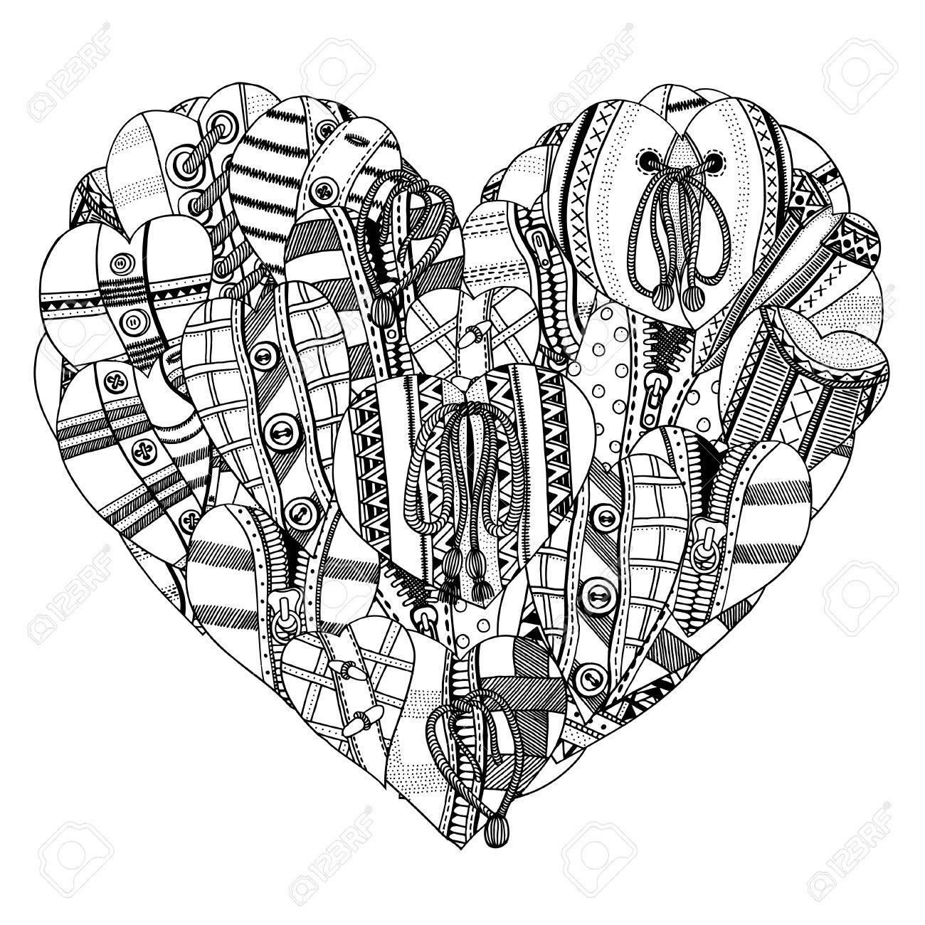 1300x1300 Big Heart Of Small Hand Drawn Hearts. Background For Valentines