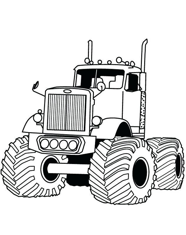 American Truck Black Outlined Illustration Vector