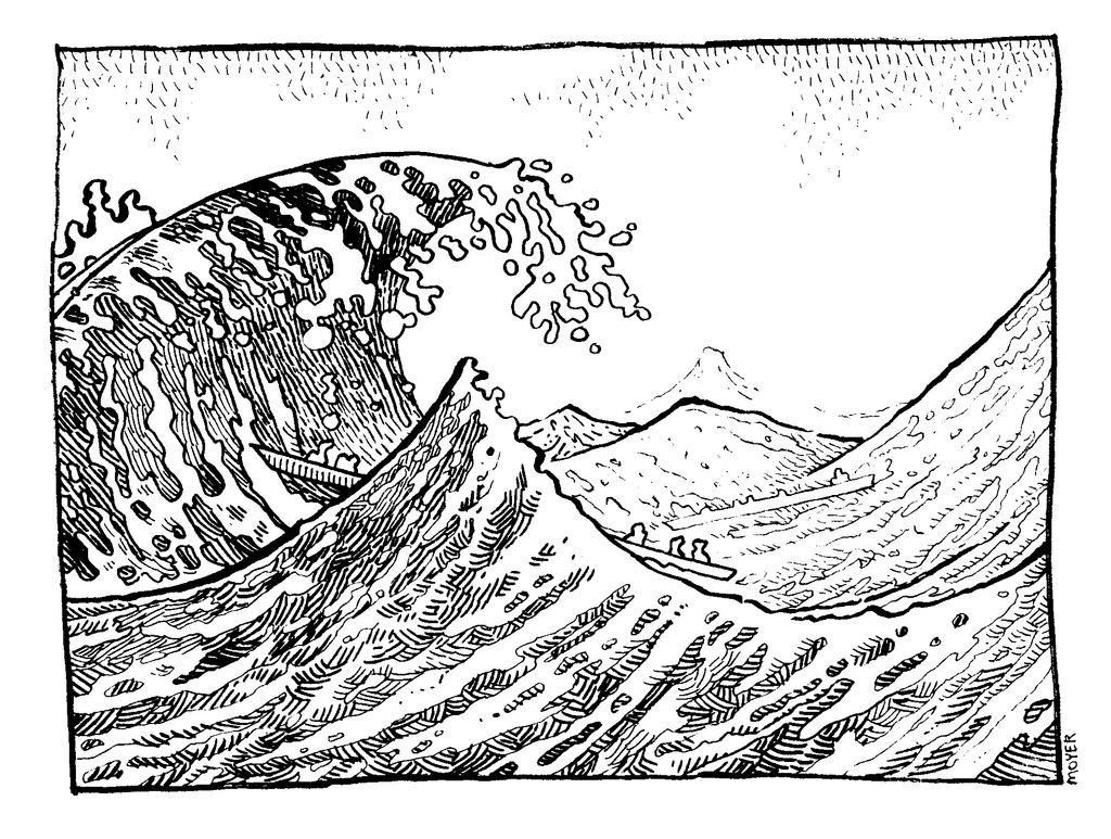 1024x773 Drawing Of A Wave Surfer Riding Big Wave Drawn In Retro Engraving