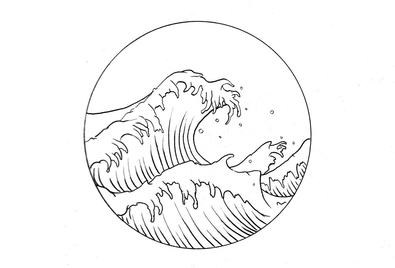 how to draw hokusai wave