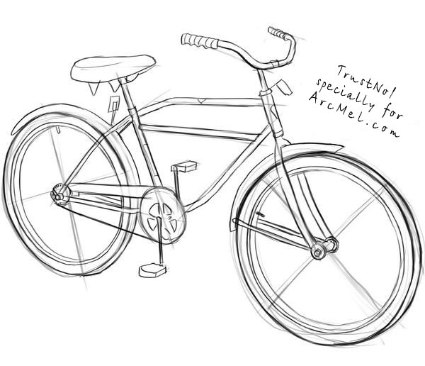 600x516 How To Draw A Bike Step By Step