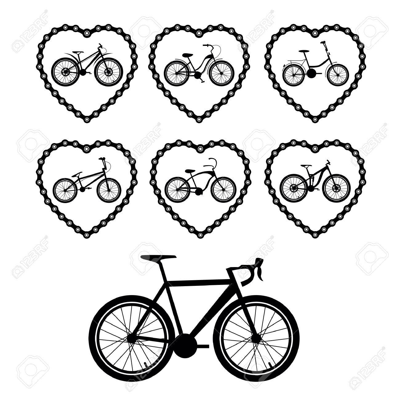 1300x1300 Set Vector Images Bicycles. Bicycle Chain In The Form