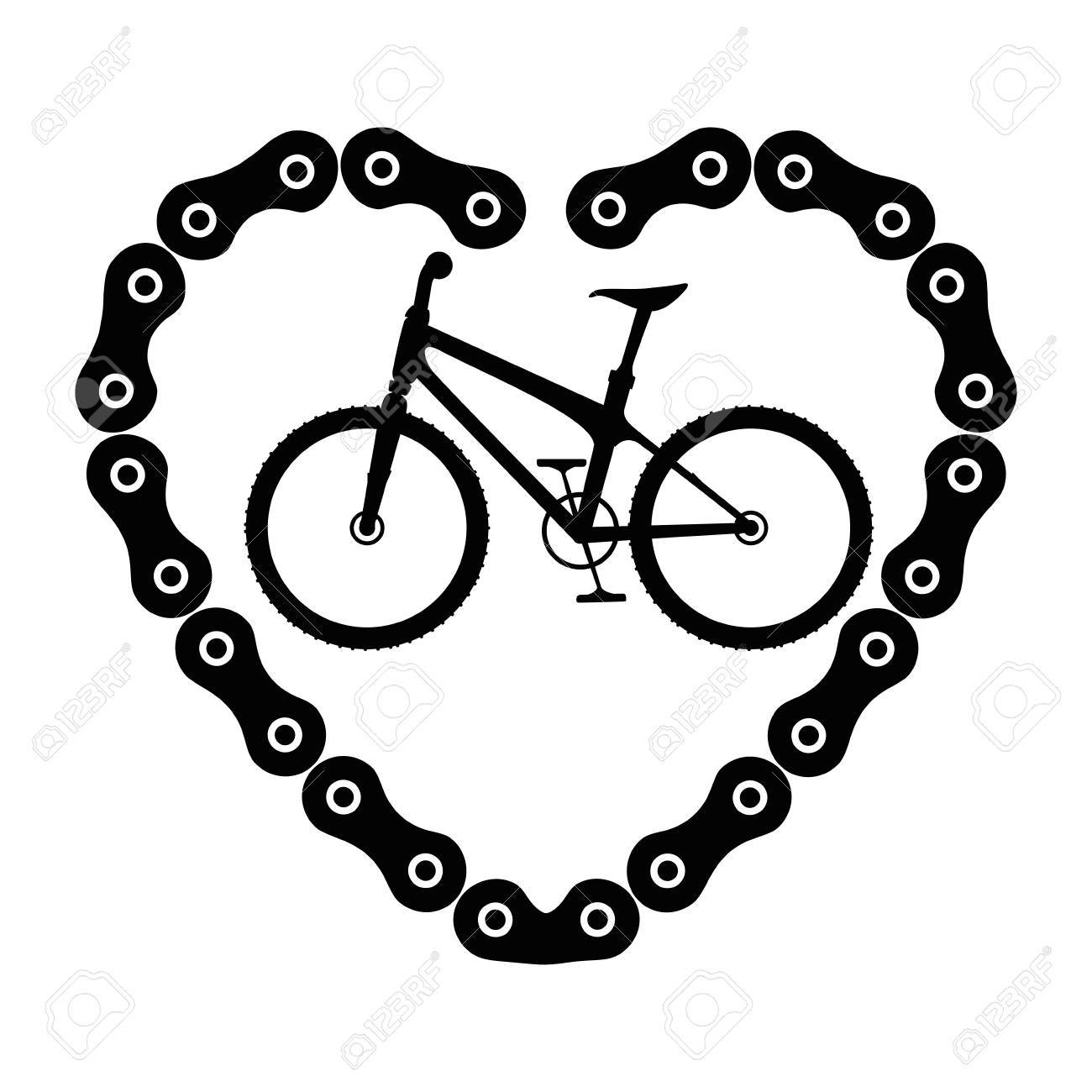 1300x1300 Bicycle Vehicle With Heart Chain Vector Illustration Design