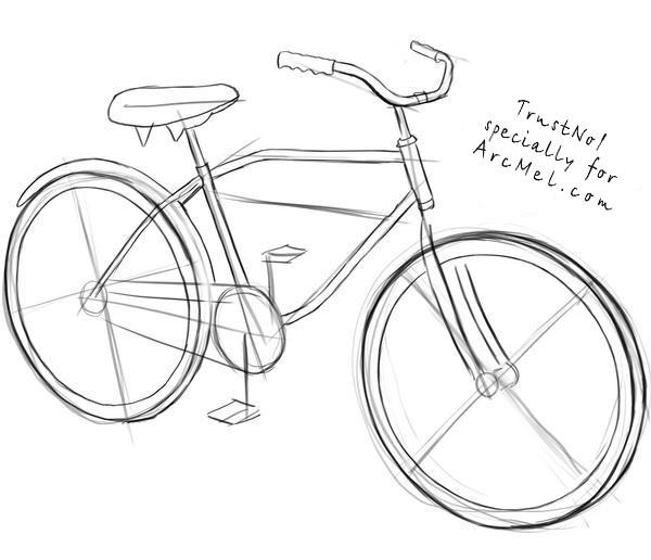 600x516 How To Draw A Bike Step 3