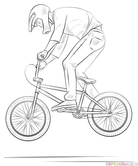478x575 How To Draw A Bmx Biker Step By Step. Drawing Tutorials For Kids