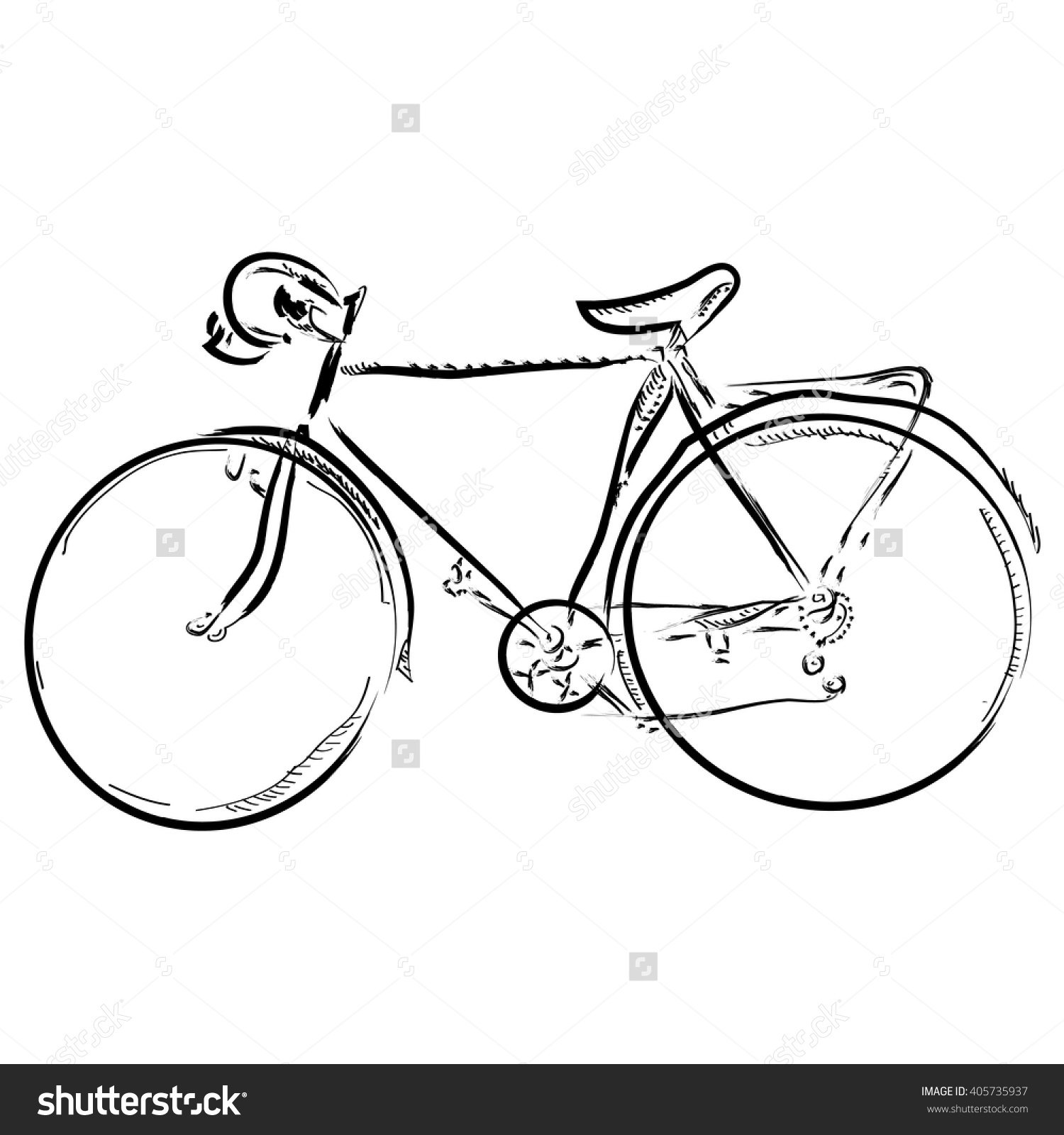 1500x1600 Simple Drawing Of A Bike Hand Draw Simple Sketch Bike Vector Stock