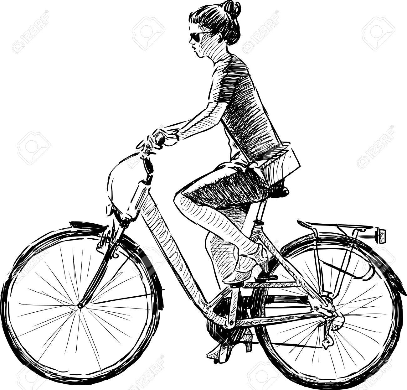 1300x1245 Sketch Of A Girl Riding A Bike Royalty Free Cliparts, Vectors,