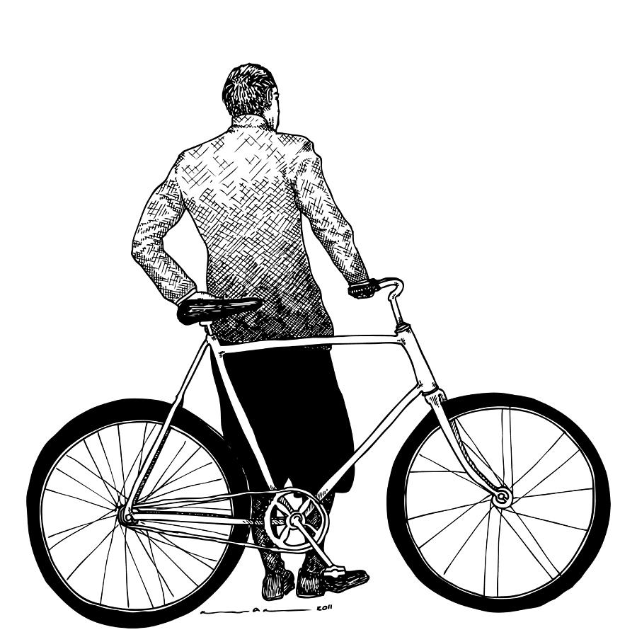 900x900 Stranger With Bike Drawing By Karl Addison