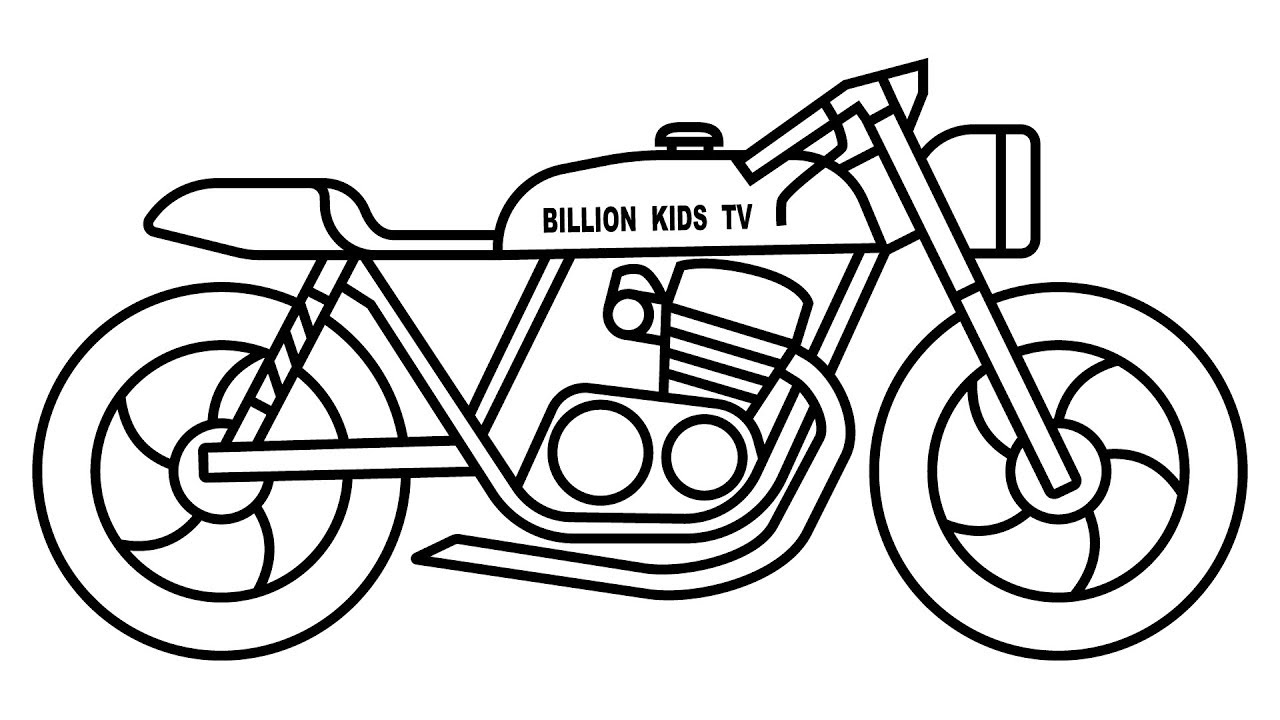 1280x720 Motorcycle Coloring Pages, How To Dtraw Bike Video With Colors