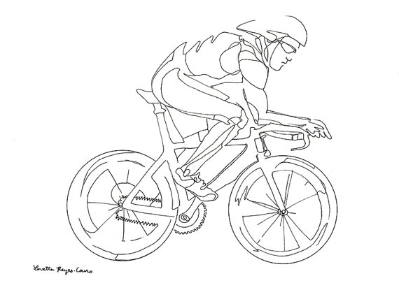 570x415 Art Print Of Drawing Of A Man Riding A Bicycle Bicycling