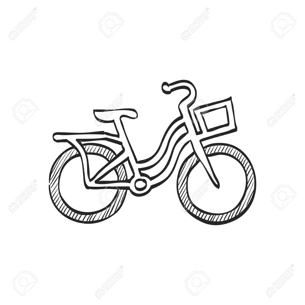 1300x1300 City Bike Icon In Doodle Sketch Lines. Transportation Sport Urban