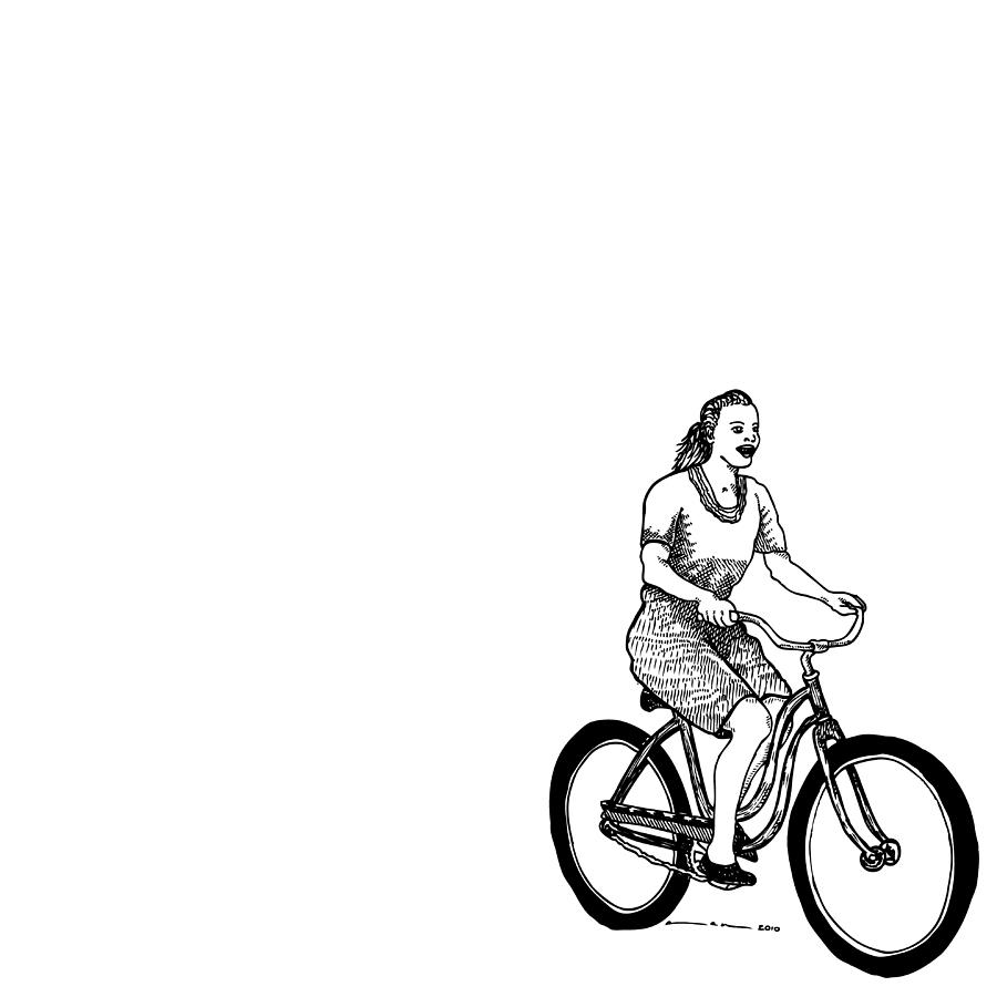 900x900 Girl On A Bike Drawing By Karl Addison