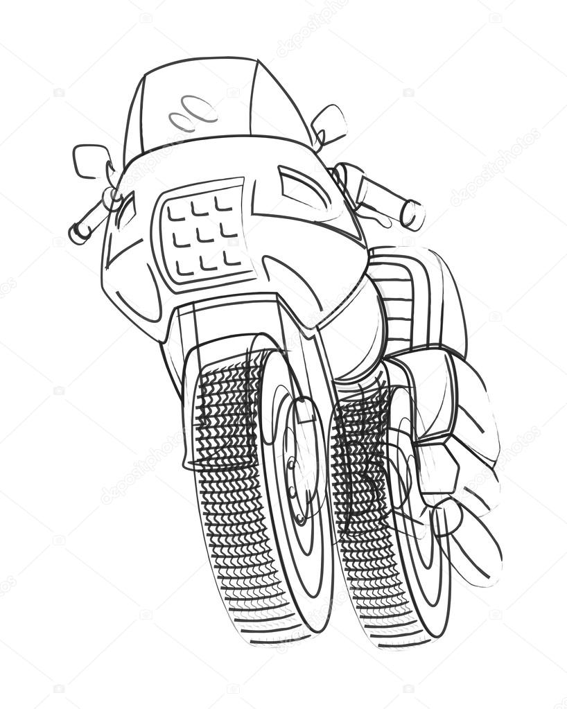 818x1023 Vector Drawing Of Sports Bike Stock Vector Baavli