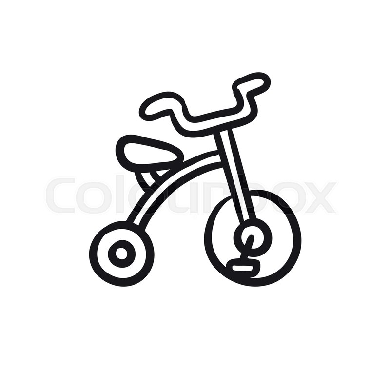 800x800 Child Bike Vector Sketch Icon Isolated On Background. Hand Drawn