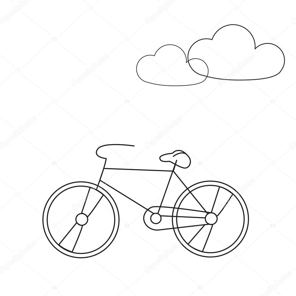 1024x1024 Bike Line Icon. Travel Bicycle Concept Illustration With Clouds