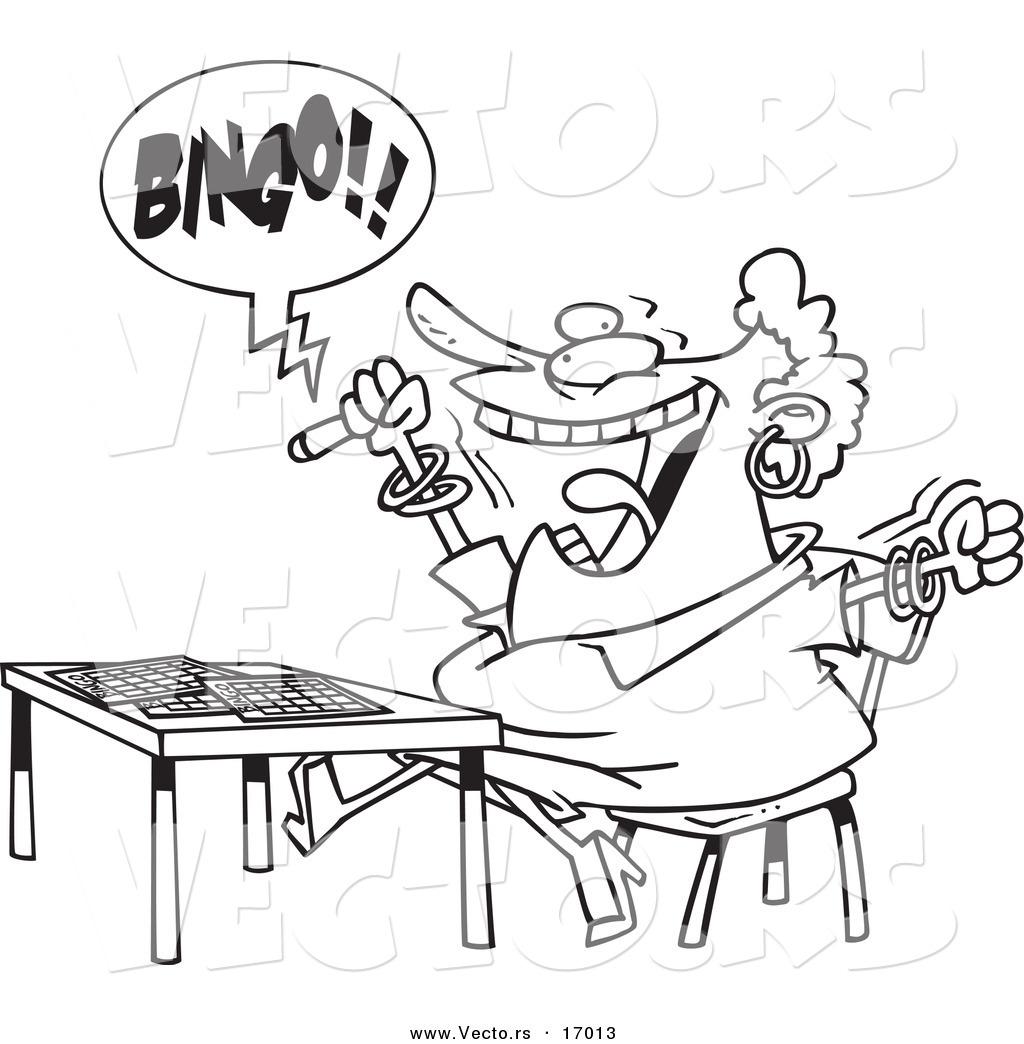 1024x1044 Vector Of A Cartoon Woman Shouting Bingo