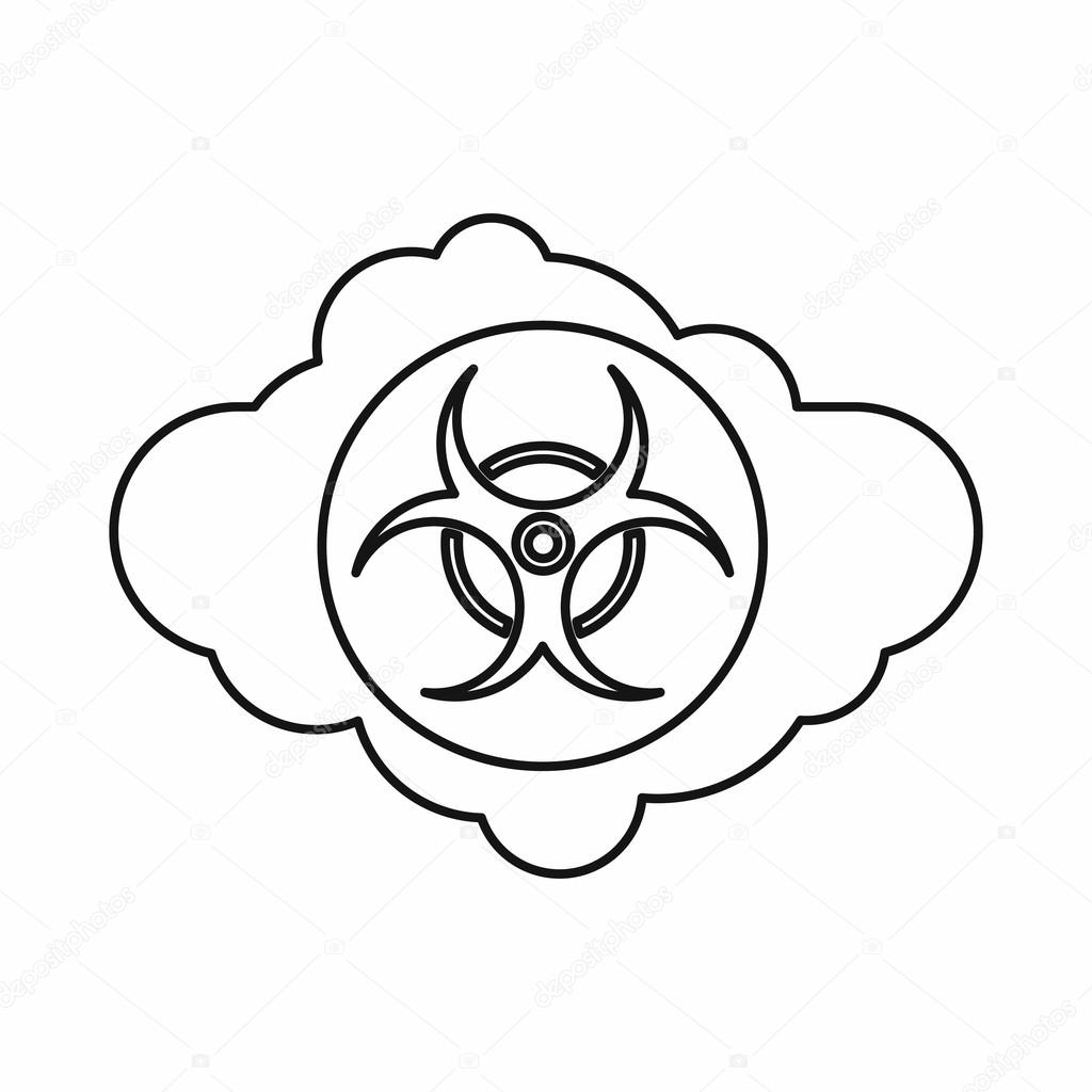 1024x1024 Cloud With Biohazard Symbol Icon, Outline Style Stock Vector