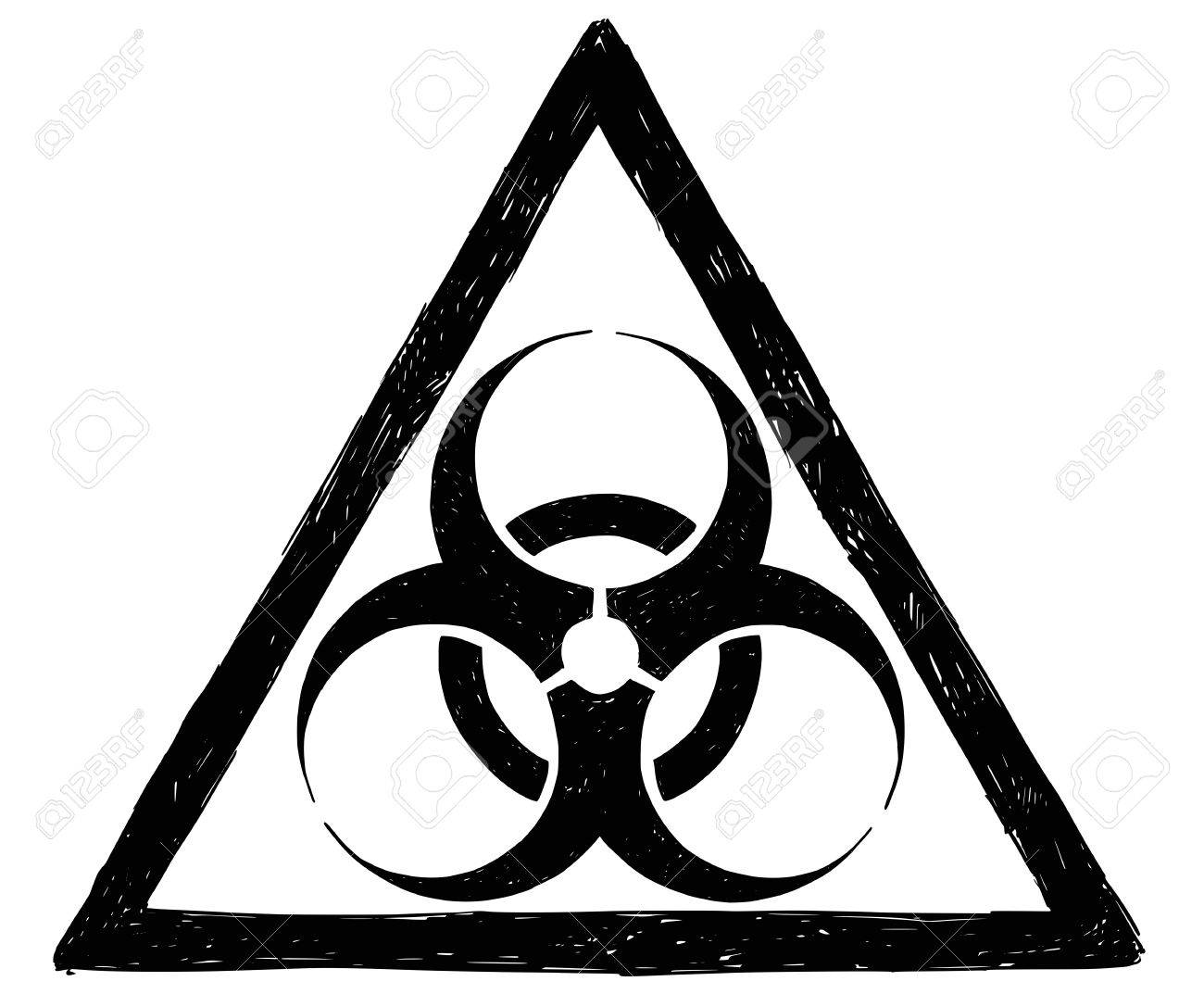 1300x1073 Vector Drawing Illustration Of Biohazard Symbol Sign Royalty Free