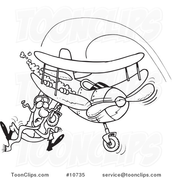 581x600 Cartoon Black And White Line Drawing Of A Pilot Hanging On His