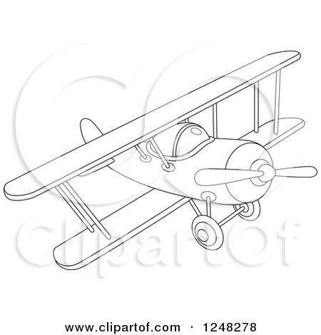 450x470 Clipart Of A Black And White Biplane Flying