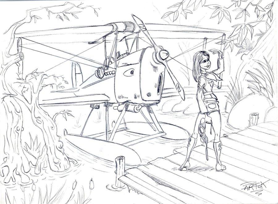 900x659 Pin Up Sea Plane Biplane By Bartok88
