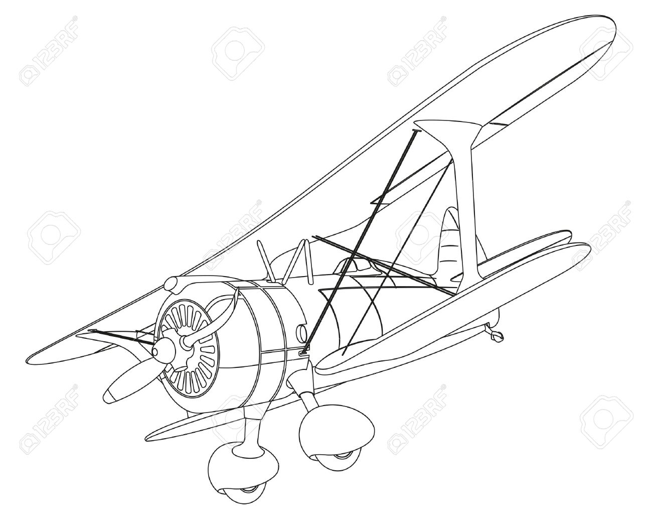 1300x1040 Plane Drawing On White Background. Illustration Clip Art Royalty