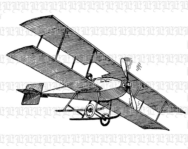 630x500 Victorian Plane Biplane Transportation Antique Vintage Clip