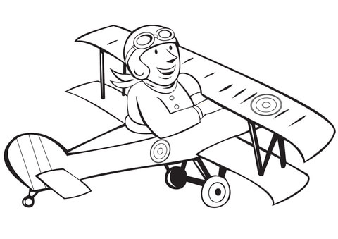 480x339 Ww1 French Pilot On Biplane Coloring Page Free Printable