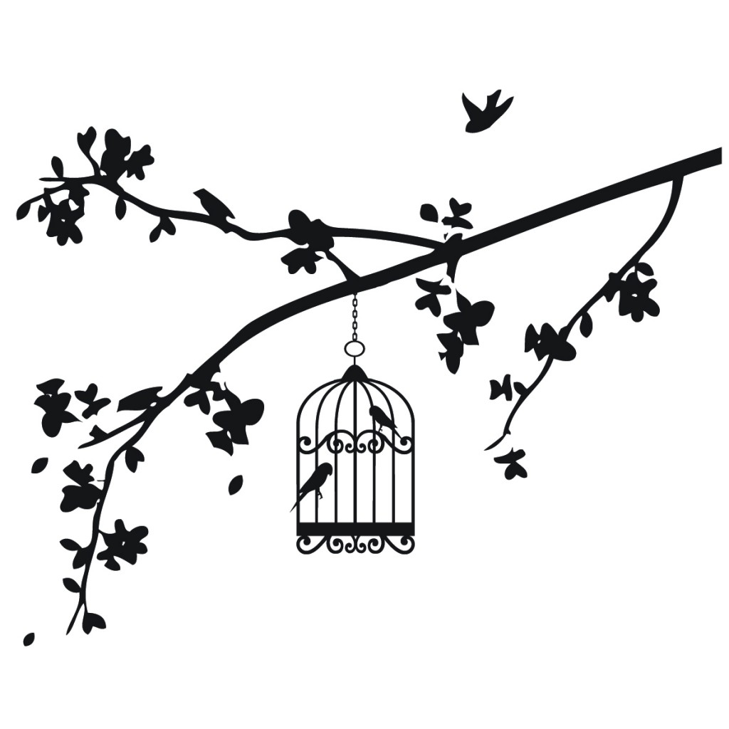 1024x1024 Black And White Drawings Of Bird, Birdcage And Branches Vinyl