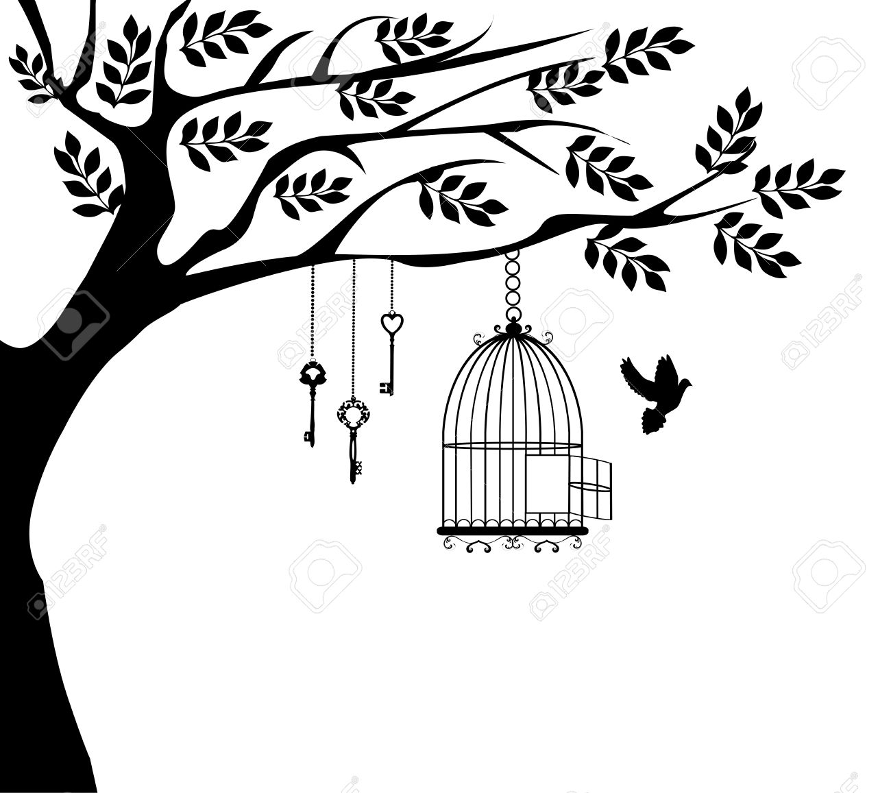 1300x1157 Birdcage Clipart Tree Bird