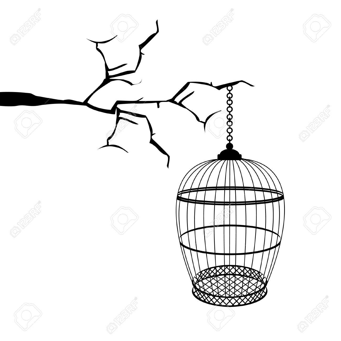 1300x1300 Black Birdcage Hanging On Tree Branch. Birdcage Silhouette