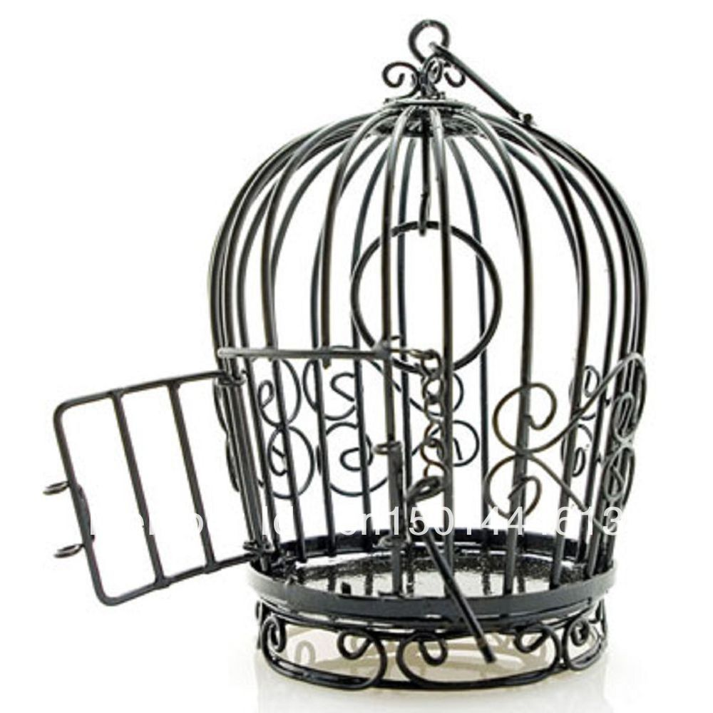 1000x1000 Black Wire Birdcage Bird's Cage Open Door New Doll's House
