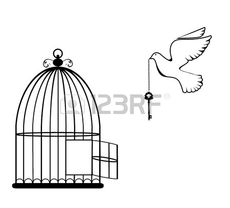 450x408 Vector Illustration Of A Bird Cage Open With Dove And Key Royalty